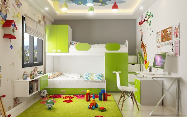 green and white boy's bedroom