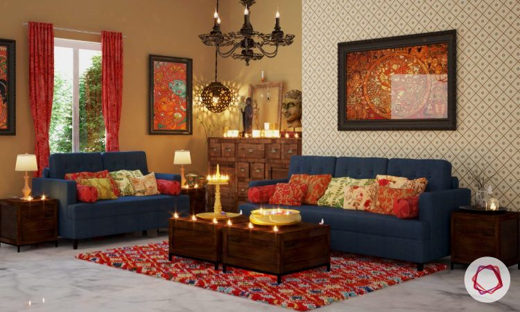 Solid wood furniture used in indian style interiors - Indian ethnic living room designs ...