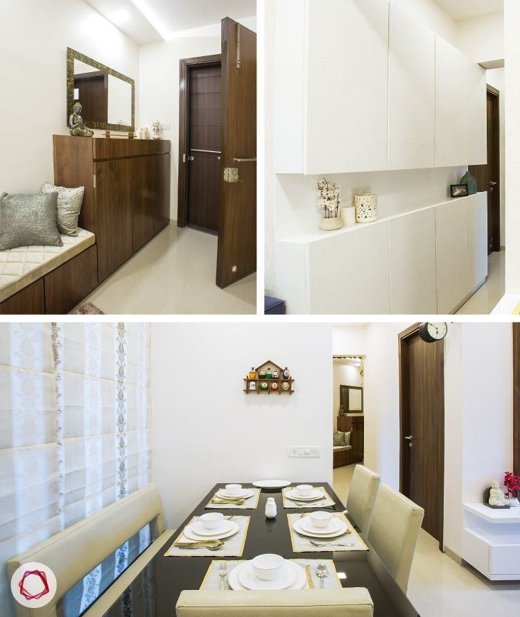 Mulund Livspace Home Tour_foyer, dining area and corridor