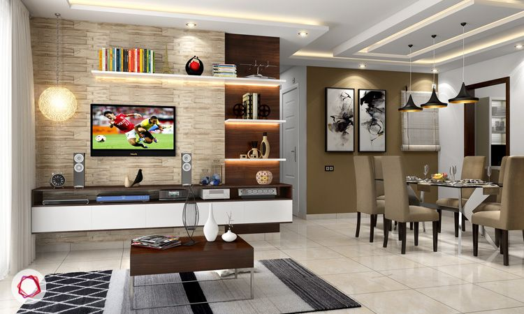 6 stunning tv wall designs for your living room rh livspace com drawing room tv wall design living room design wall mounted tv