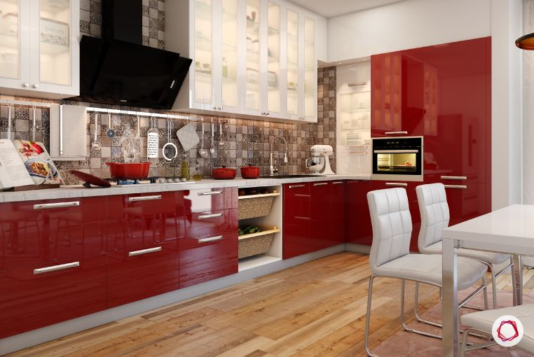 home decor ideas in red - glossy red and white kitchen