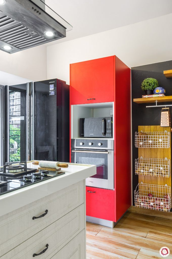home decor ideas in red - kitchen tall unit in red
