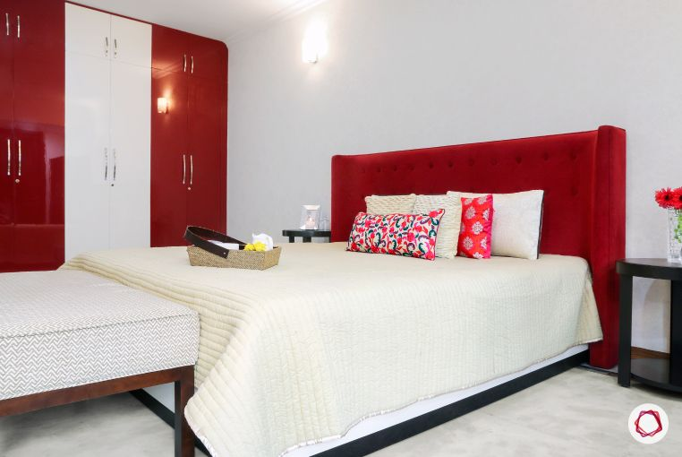 Home Decor Ideas in Red - Red Velvet Headboard with Red n White Wardrobe