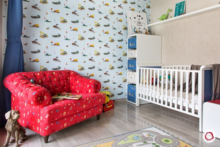 Home Decor Ideas in Red - Red Accent Couch Baby's Room