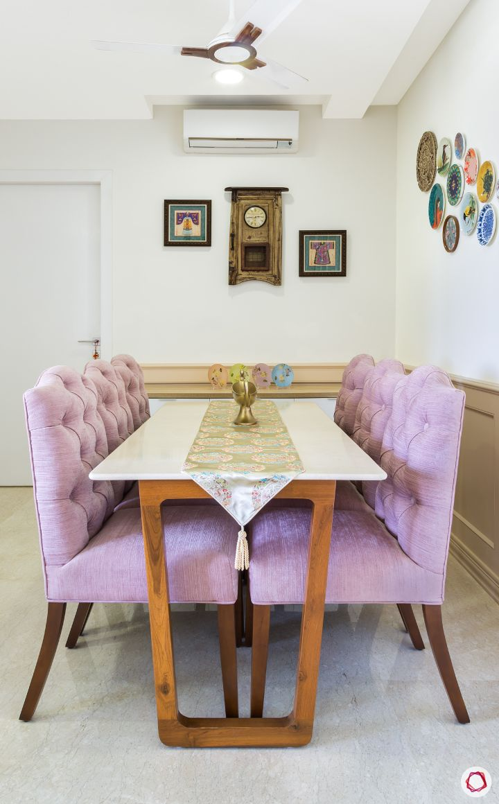 flat design-lilac chairs-dining table designs