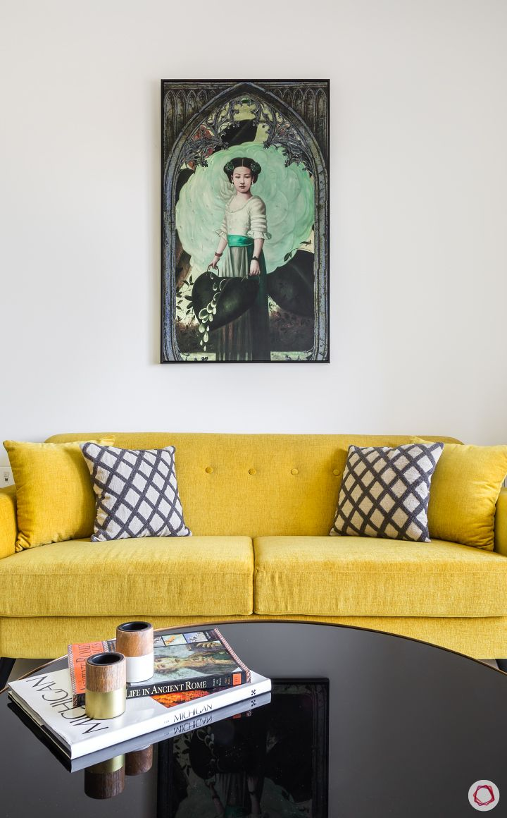 flat design-yellow sofa designs-wall art