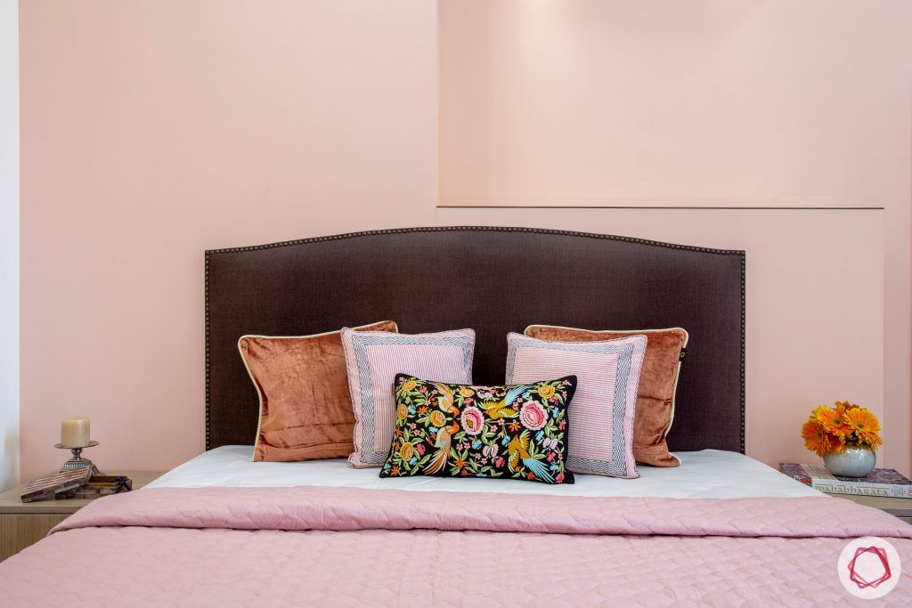 Cleo county noida_peach pink wall for parents room