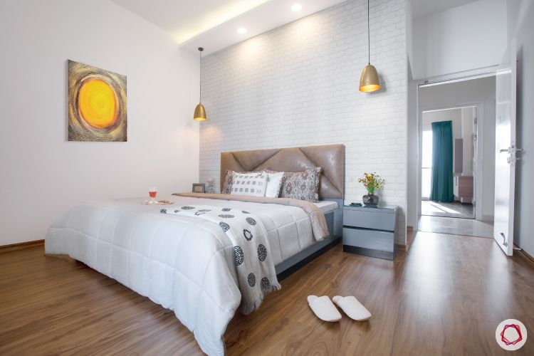 wall paint colours-spacious bedroom-white interiors-wooden flooring