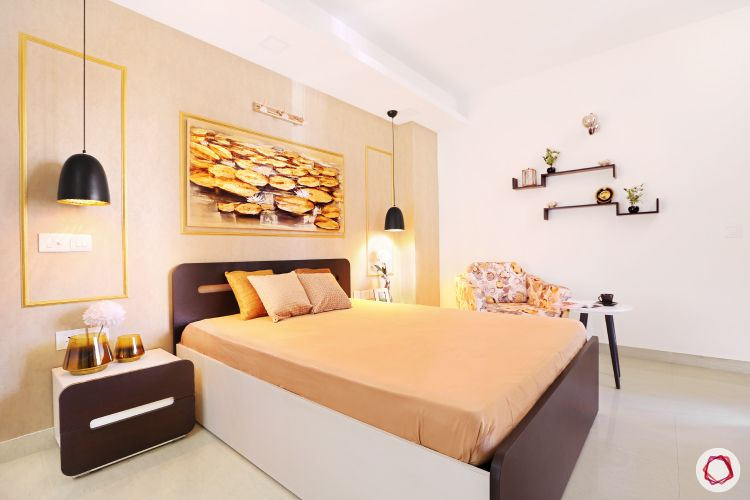 wall paint colours-bedroom-light coral walls-sleek bed-bedside tables