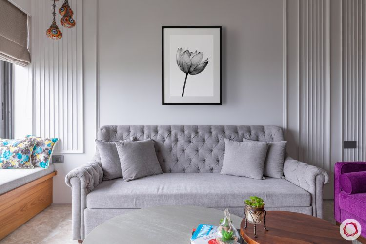 wall paint colours-living room-light grey walls with trims-grey sofa
