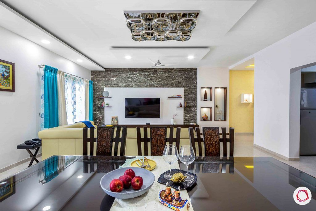 sobha forest view-dining room-dining table-glass top
