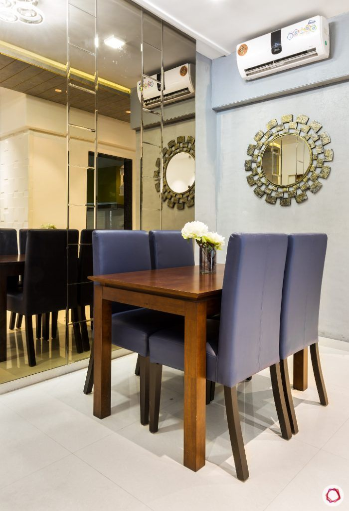 small space interior design-mirrored panels-small dining table-4-seater dining set