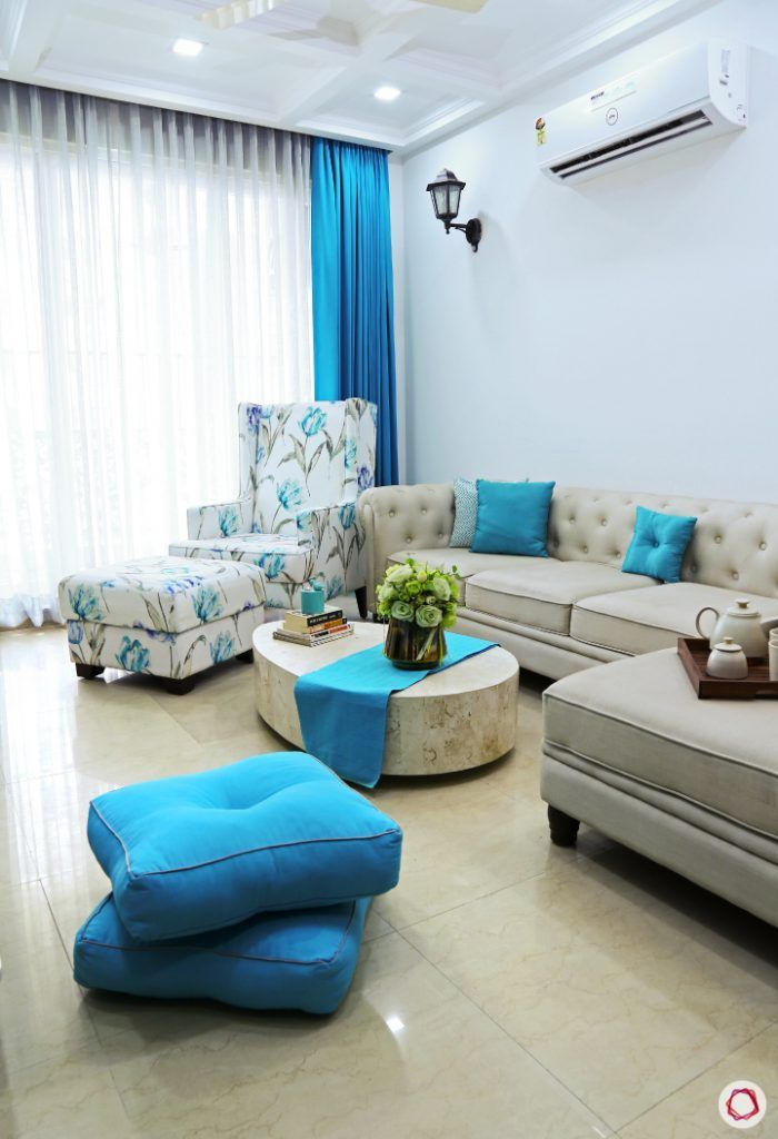 small space interior design-throw cushions-living room seating-floor seating ideas-blue cushions