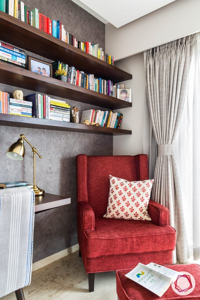 lodha group-red reading chair-red ottoman-bookshelf for bedroom