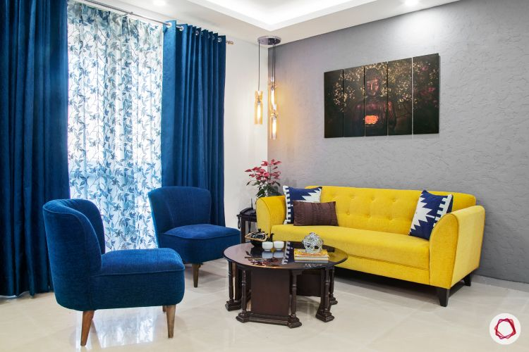 calming colors-navy blue chairs-navy blue drapes