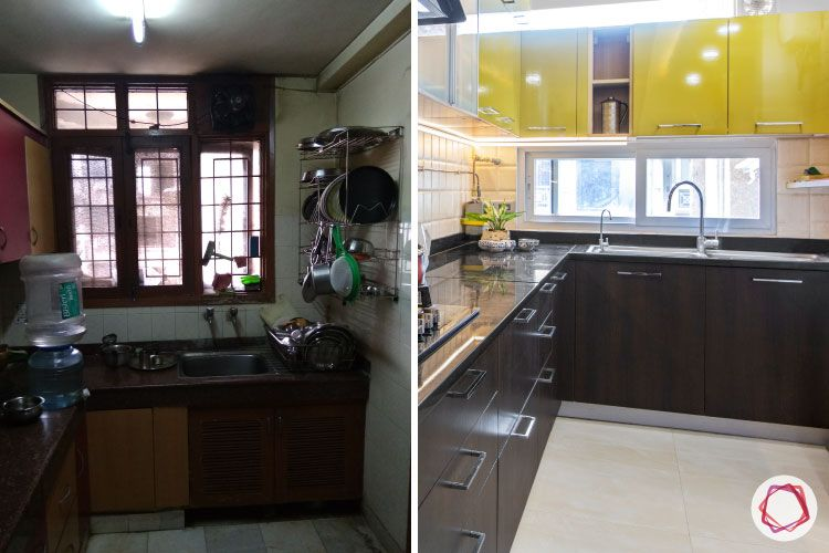 kitchen-before-after-sink-yellow-cabinets-wood-drawers