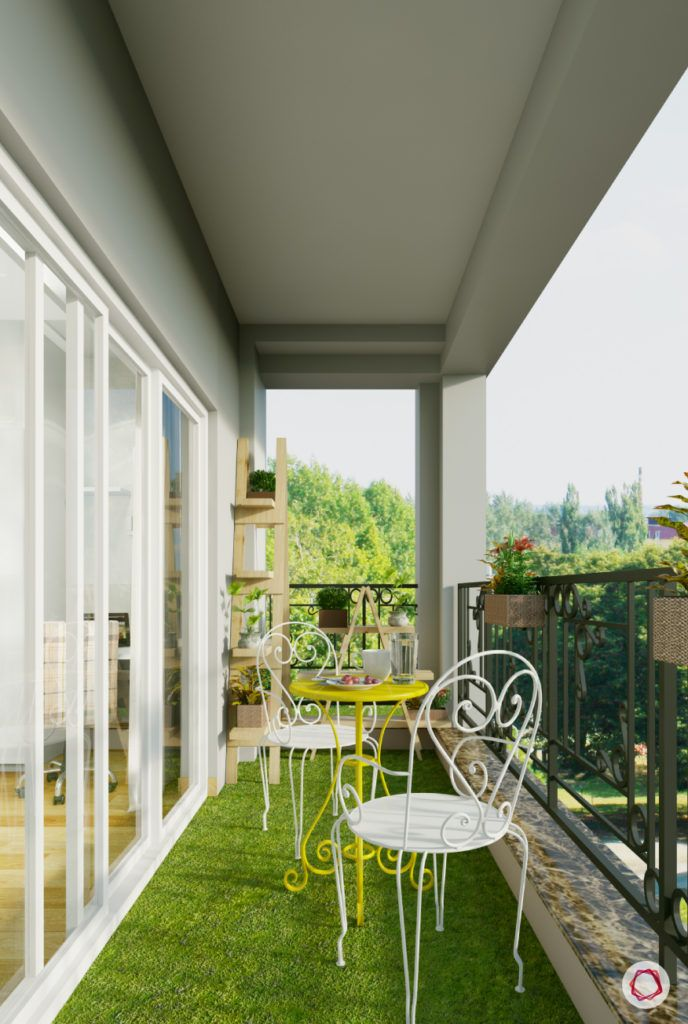 modern balcony design-metal chairs-yellow garden chair-white outdoor table