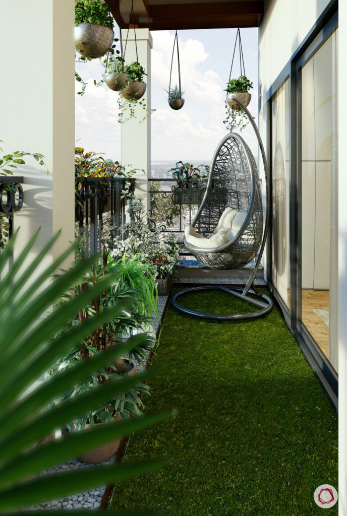 modern balcony design-swing chair-artificial turf-hanging planters
