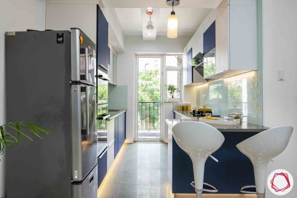 dlf new town heights-blue and white kitchen designs-bar stool designs