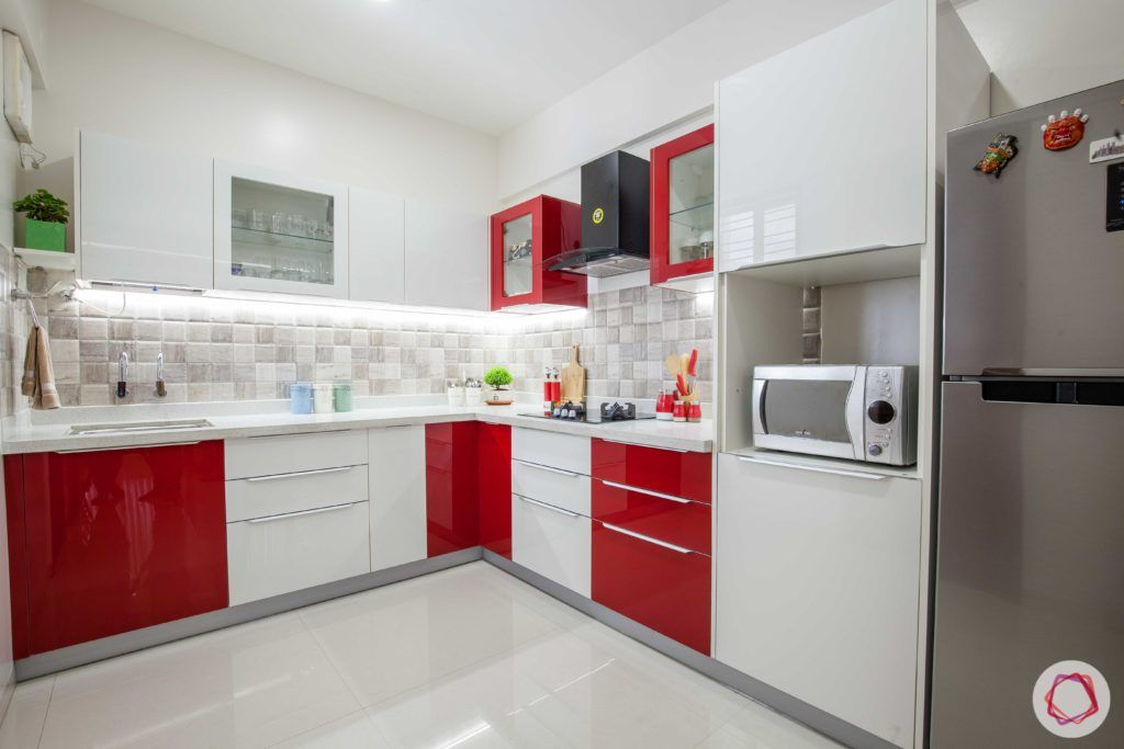 red kitchen designs-red and white kitchens