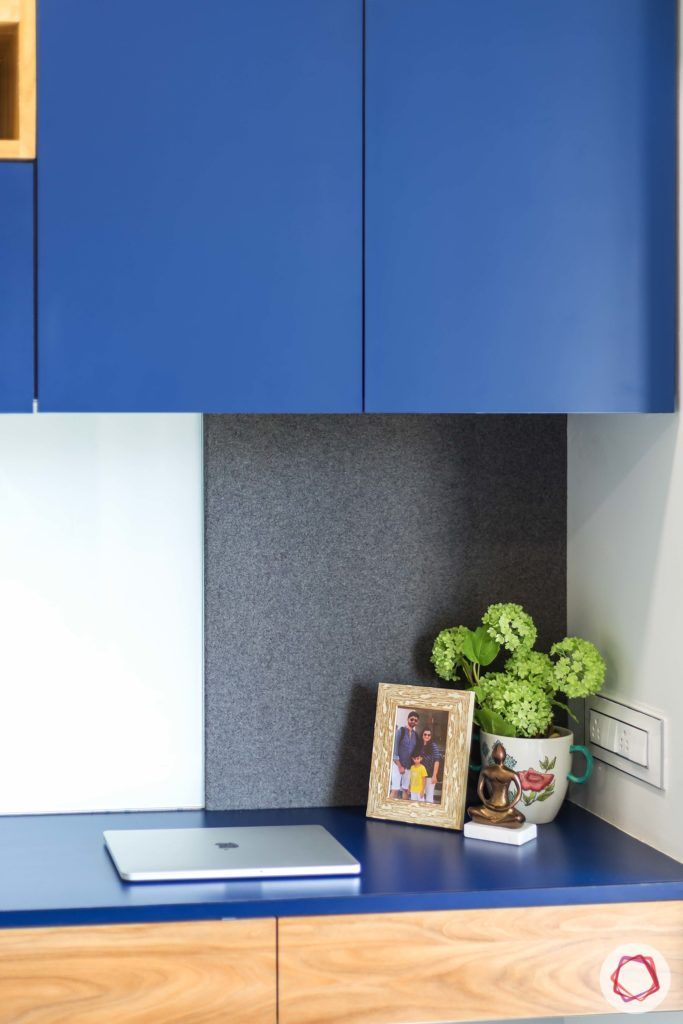 indian bedroom-compact study table-push-to-open cabinets