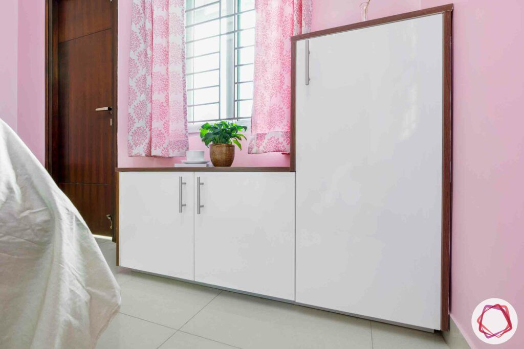 white cabinet designs-pink curtain designs