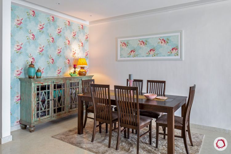 pastel colors-printed wallpaper-dining room-cabinet