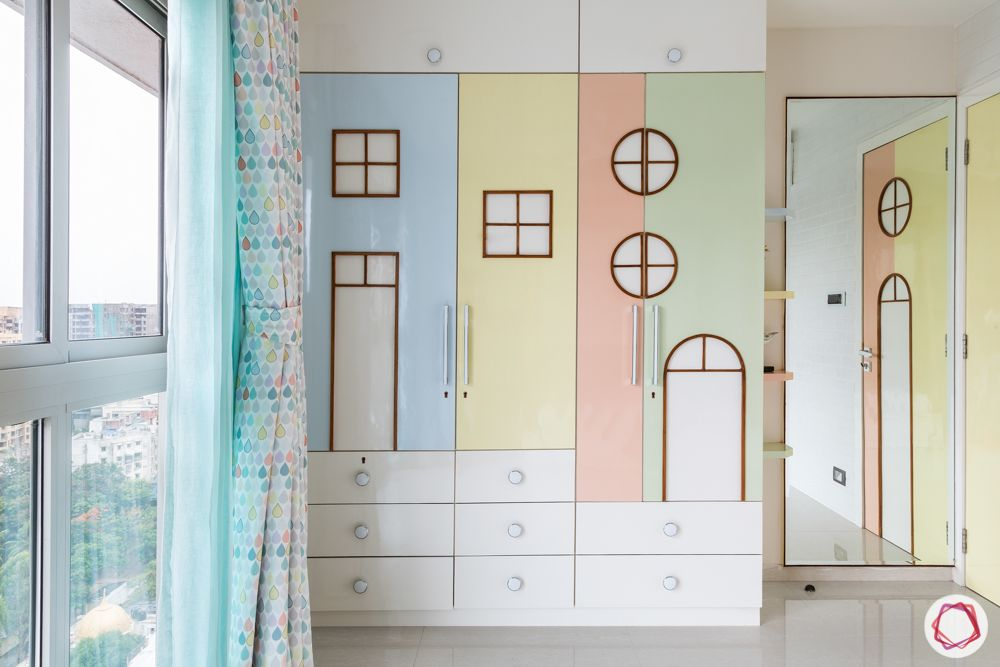 pastel colors-candy colored wardrobe-kids room
