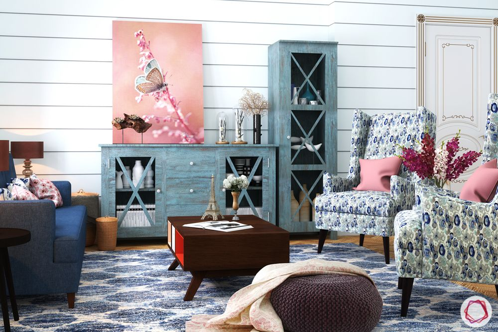 pastel colors-vibrant living room-pink wall art-printed upholstery