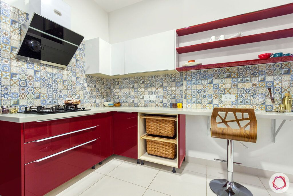 red kitchen designs-acrylic finish for kitchen
